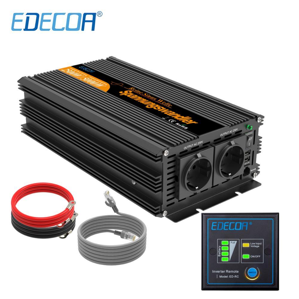 EDECOA 2500w 5000w peak DC 24V AC 220v 230V pure sine wave solar inverter with remote control USB port